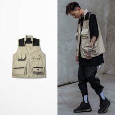 Men Multi Pocket Utility Vest Waistcoat Cargo Sleeveless Jacket Photography Tops