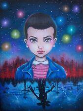 Stranger Things Eleven pop surrealism big eye art painting Lowbrow hand painted
