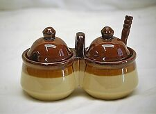 Old Vintage Stoneware Crock Pottery Double Condiment Jar Caddy w Spoon Brown