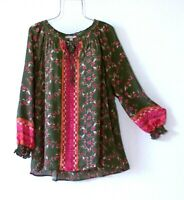 New~2X~Green Orange Red Floral Rose Peasant Blouse Fall Boho Plus Size Top~22/24