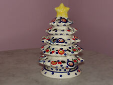 Polish Pottery Christmas Tree Tea Light! Happy Happy Pattern!