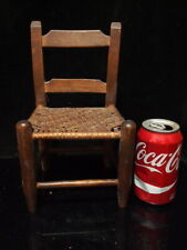 ANTIQUE RUSTIC RUSH SEAT LADDER BACK DOLL/CHILD FOLK ART SIDE CHAIR