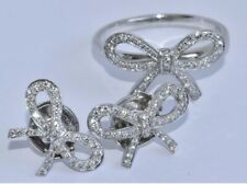 Tiffany & Co Diamond Platinum Bow Earrings and Ring Set