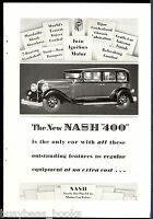 1929 NASH 400 advertisement, Nash Motors Vintage Nash sedan