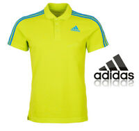 adidas Essentials Mens Polo Shirt Climalite Sports T-Shirt Lime Top Size S,M,L