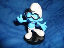 """Smurfs Lost Village Brainy Smurf PVC Collectible Figure Snapco cup topper 3"""""""