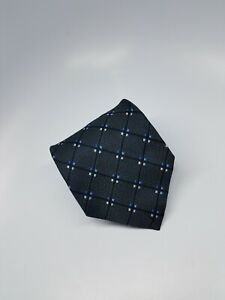 Jos A Bank Silk Tie Charcoal Grey Blue Silver Geometric Waffle Made in Italy