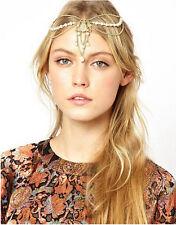 Celebrity Women Pearl Tassel Crown Hair Band Headband Accessories Gold Gift