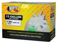 Ruffies Pro 1124915 Tall Kitchen Recycling Bags, 13 Gallon, Clear, 120-Count