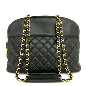 CHANEL Quilted Matelasse Lambskin Large Chain Shoulder Tote Bag Black /B0494