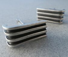 Modernist Design Mexican/Taxco .925 Sterling Silver Cuff Links