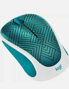 Logitech M317 Design Collection Wireless Mouse Teal Maze w/ Nano BNIB Sealed