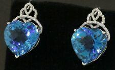 14K WG lovely 25.02CT diamond & Heart cut Blue topaz earrings