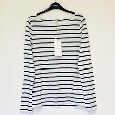 Jigsaw Retro Stripe Jersey Top, White Fern Green Stripe Size S (UK 10) RRP £42