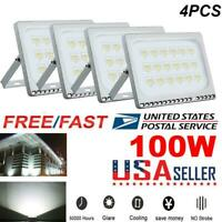 4X 100W LED Flood Light Cool White Outdoor Yard Garden Square Security Lamp IP65