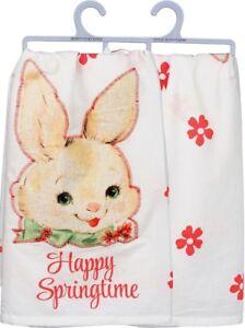 Happy Springtime Easter Bunny Cotton Flour Sack Dish Towel Primitives By Kathy