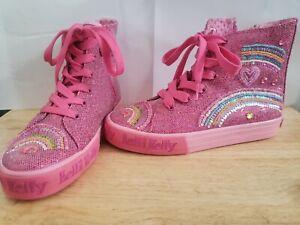 LELLI KELLY Girls sz 3 PINK BEADED Shoes Hi Top Zips Ties Flowers Rainbow NEW