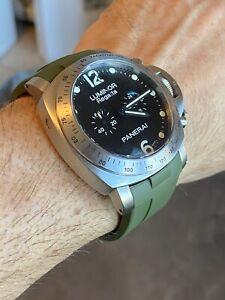 Perfect Fit GREEN Panerai 44mm Luminor Case 24mm Vulcanized Watch Strap Band (R)