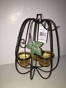 YANKEE CANDLE Metal Pumpkin 3 Tealight Candleholder NEW Boxed Home Decor FALL