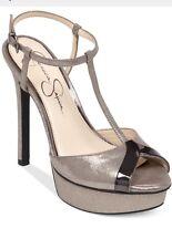 Jessica Simpson Carys Sandals Slate Gunmetal Dusty Metalic Silver Platform 7.5 M