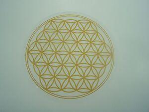 """Untersetzer """"Blume des Lebens"""" 9,5 cm Gold/Braun-Farben Lebensblume aus Acryl"""