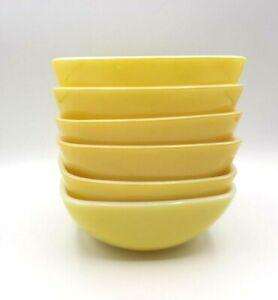 Set 6 Yellow Pyrex Square Ovenware Bowls #410 12 oz