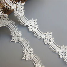 1 yd Vintage Flower White Lace Edge Trim Ribbon Wedding Applique Sewing Craft