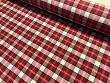 "RED & WHITE Tartan Christmas Stocking Dobby Plaid Check Fabric 55"" Wide"