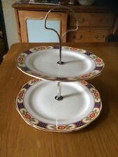 Allertons Ltd Vintage 2 Tier China Cake Stand Electro Plate Handle c1929-1942
