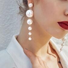fausses perles boucles d'oreilles perles corde linéaire pendantes mariage