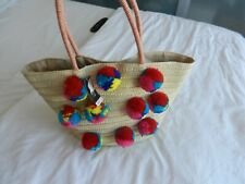 Papaya Pom Pom Beach Straw  Basket/ Bag