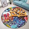 Cartoon Graffiti Design Yoga Mat Area Rugs Floor Bathmat Round Non-slip Carpet