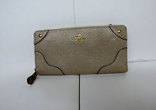 Coach GRN Leather Mickie Acc Zip Around Wallet GOLD  F52645 MSRP $275