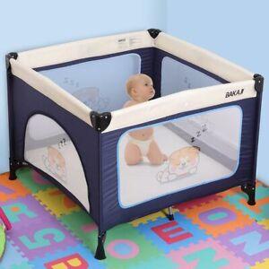 Lettino Culla Box Gioco Campeggio Bambini Neonato Pieghevole 100x100x76cm Blu