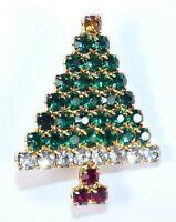 Vintage Christmas Tree Pin Brooch Sparkling Prong Set Rhinestones Unsigned