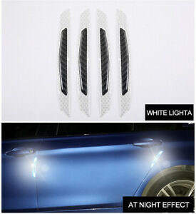 4X Reflective Real Carbon Fiber Car Side Door Protection Guard Stickers - White