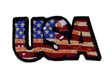 USA Flag Colors Embroidered Iron On Motorcycle Biker Vest Patch 4x2 inch P2