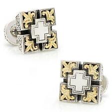 Cross Filigree Design New Cuff Links For Men Jewelry Gift 14k White Gold Cz