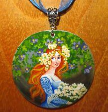 Pendant Elisabeth Sonrel Girl in Blue Hand Made Shell Art Nouveau Illustration