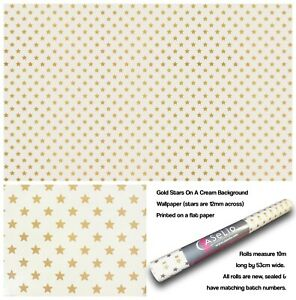 Gold Stars On A Cream Background Wallpaper (stars are 12mm across)
