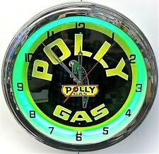 """16"""" Polly Gas Nostalgic Sign Green Neon Wall Clock Garage Man Cave"""