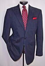 Dark Blue Cotton Tone on Tone Pattern 1 Button Peak Lapel Jacket 42 R