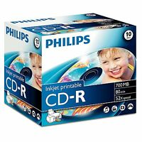 Philips CD-R Inkjet Printable 52x 700MB 80Min - 10 Pack Jewel Case
