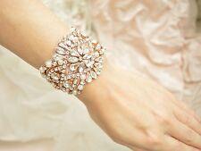 Alexa Oro Rosa Bracciale Vintage cristallo Rhinestone Perla Nuziale Gioielli Bracciale