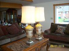Brass Glass Vtg. Lamps 2 Lavender Gold Lace & Enamel Floral Overlay  Stunning