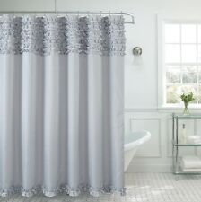 Beverly Hills Ruffle Premium Quality Fabric Shower Curtain 70x72 Gray Silver