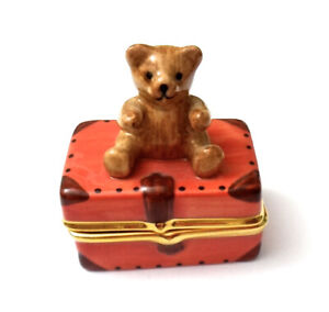 "Porcelain Teddy Bear on Travel Case Trinket Box w/Tiny Bear Inside. 1-3/4""tall"