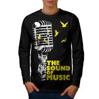 Wellcoda Freedom Saying Mens Long Sleeve T-shirt, Microphone Graphic Design