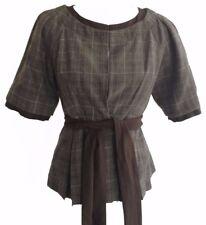 To The Max Wool Pleated Peplum Jacket with Ribbon Belt Sash Pockets Blazer S