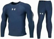 Under Armour Men's Cold-Gear Long Tight and Long Sleeve Compression Blue Color